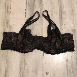 Torrid black lace demi bra 42D EUC